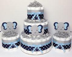 Gris y azul de bebé niño pañal pastel muchacho bebé ducha