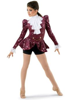 This iconic style features a biketard with sequin paisley bodice, shirred long sleeves, stretch lace ruffle collar, and peplum skirt with crinoline trim. Jazz Dance Costumes, Ballet Costumes, Lace Peplum, Lace Ruffle, Rain Costume, Pirate Hats, Long Sleeve Turtleneck, Character Costumes, Stretch Lace