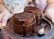 Dark chocolate soufflé for two