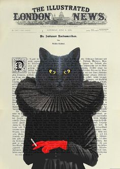 CAT BLACK Print Poster Mixed Media Painting by artretro on Etsy
