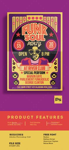Funk Soul Party Flyer Poster — Photoshop PSD #night club #vintage • Available here → https://graphicriver.net/item/funk-soul-party-flyer-poster/14567681?ref=pxcr