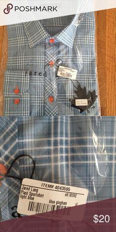 NWT Jared Lang Mens sportshirt XL Blue gingham model OTT92092 Jared Lang Shirts Casual Button Down Shirts