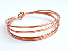 Hammered Aluminum Copper Color Bangles Minimalist Jewelry Women Accessories by SteamyLab