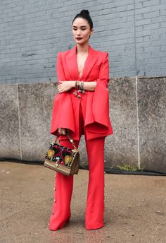 Heart Evangelista is seen wearing a red suit outside the Prabal Gurung show during New York Fashion Week Women's S/S 2019 on September 9 2018 in New. Seoul Fashion, Suit Fashion, Curvy Fashion, New Fashion, Trendy Fashion, Fashion Models, Autumn Fashion, Girl Fashion, Fashion Trends