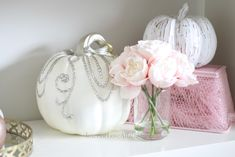 Decorate for fall with blush pink, white and gold accents! home décor; how to decorate for fall. Fall Floral Arrangements, Velvet Pumpkins, Love Affair, Gold Accents, Office Decor, Blush Pink, Pink White, Fall Decor, Color Schemes