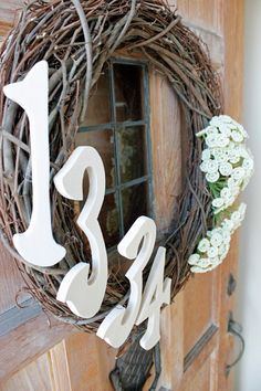 Happy Now: DIY Custom Front Door Wreath for Summer!  If you can add a strand of battery operated Christmas lights they would backlight your house number. I appreciate beyond words when I can clearly see a house number. Makes my job as a Premier jeweler much easier.
