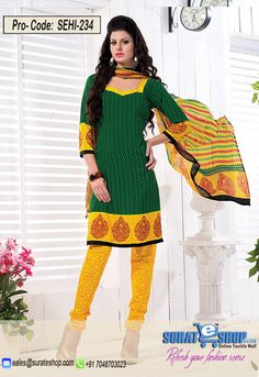 Green & Yellow Salwar Kameez, Top:fabric amarican 2.00 mtrs, Bottom:fabric amarican 2.00 mtrs, Dupatta:fabric chiffon 2.25 mtrs   Visit: http://surateshop.com/product-details.php?cid=2_27_44&pid=11809&mid=0