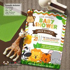 Safari Jungle Animals Baby Shower Theme Printable DIY Invitation- Safari Jungle…
