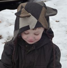 Cozy winter toddler bear hood made from up cycled men's sweater. By Oliver & S