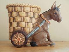 Lefton Vintage Donkey and Basket Planter by AGildedNest on Etsy