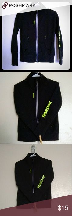 Reebok Athletic Outerwear, Y/L Size youth large, Reebok black and yellow athletic sweater with front zippered pockets. EUC. Offers welcome... Reebok Shirts & Tops Sweatshirts & Hoodies