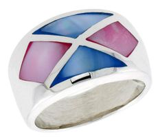 "Sterling Silver Crisscross Design Dome Shell Ring, w/Pink & Blue Mother of Pearl Inlay, 9/16"" (14mm) wide, size 10 Sabrina Silver. $38.70"