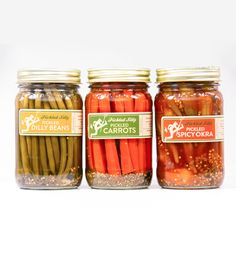 Pickled Silly Sampler - Tarragon Carrots, Dilly Green Beans & Spicy Okra - Also love the packaging!