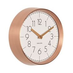 Karlsson Convex Wall Clock in White with Copper Case