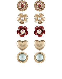 A beautiful collection of five pairs of gold-toned earrings, with flower and heart shapes, sparkling red gems, pearlescent beads and metallic petals. Non-refundable.