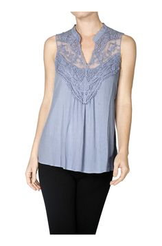 Sleeveless Blouse With Crochet Lace Neckline
