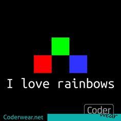 I #love #rainbows, especially the #RGB ones.  For more of this find link in bio⠀ #rainbow #16bit #coderwear #code #coder #funwithcode #fun #ascii #art #tee #nerd #nerdshirt #print #lovecode #codelove #coding #programming #programmer #coolcode #funnycode #codeordie #development #developer #tshirt #block