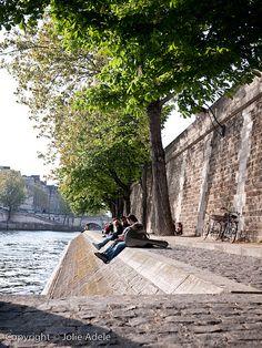 Jolie Adele captures one of my favorite parts of our trip in this photo - sunbathing on the Seine!