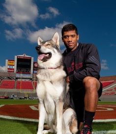 Russell Wilson and Tuffy at Carter Finley midfield