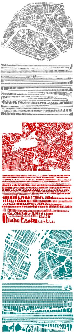 Deconstructed Cities: Paris, Berlin, and New York, as dissected by roads, and then organized according to shape and size by French artist Armelle Caron.