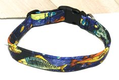 Colorful Fish With Dark Blue Background For Dogs & Cats/ Adjustable Fishing Collar In Buckle Or Martingale Style/ Trout Collar/Leash Upgrade by KVSPetAccessories on Etsy