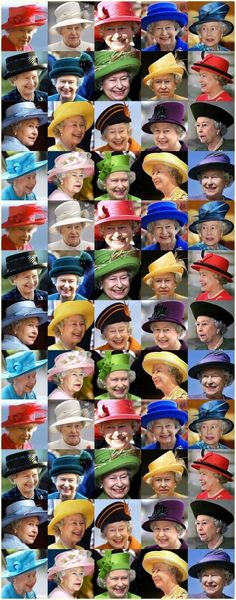 Hello Friends, Tonight ( Nov 26) let's do a fun board titled'' Queen Elizabeth's  Colorful Hats.'' Happy Pinning. YOU MAY ADD HER GORGEOUS BROOCHES IF YOU LIKE.❤