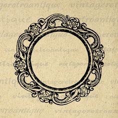 Printable Digital Elegant Circle Frame by VintageRetroAntique