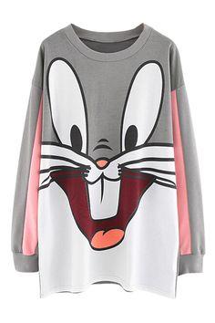 abaday   Cute Cartoon Rabbit Print Loose Sweatshirt, The Latest Street Fashion