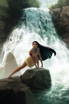 "thesilvereye: ""Pocahontas for a Disney coloring book challenge! Original lines. Pocahontas Disney, Princess Pocahontas, Disney Artwork, Disney Fan Art, Disney Drawings, Images Disney, Disney Pictures, Disney Movies, Disney Pixar"