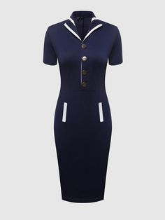 #Fashionmia - #Fashionmia Color Block Vintage Lapel Bodycon Dress - AdoreWe.com