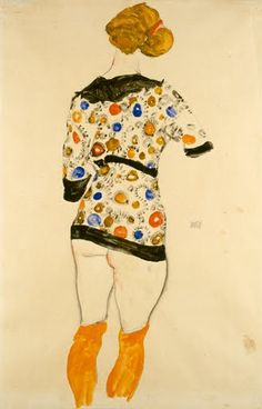 Standing Woman in a Patterned Blouse - Egon Schiele — Google Arts & Culture