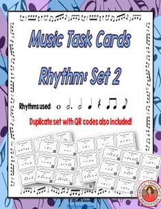 MUSIC TASK CARDS: Rhythm Set 2  COUNT the BEATS: quarter note/crotchet = 1  Included in this product is... ♫ 36 Task Cards  ♫ A duplicate set of task cards with QR codes ♫ Student Record Sheet  ♫ Answer Key