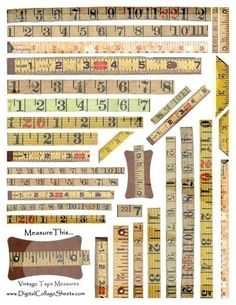 Vintage Measuring Tapes Collage Sheet DCS-291 DigitalCollageSheets