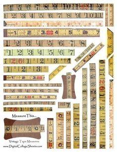 Vintage Measuring Tapes medidaas antiguas postal centimetro numero