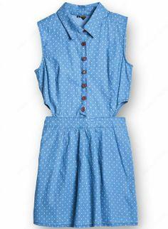 Light Blue Sleeveless Polka Dot Cut Out Denim Shirt Dress