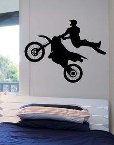 Dirt Bike Biker Mid Air Trick Vinyl Wall Decal Sticker Art Decor Bedroom  Design Mural Racing Part 70