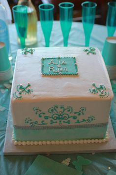 Tiffany Blue wedding shower cake