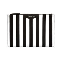 Givenchy Striped leather pouch ($263) ❤ liked on Polyvore featuring bags, handbags, clutches, black white, black and white purse, leather handbags, black and white striped purse, striped purse and givenchy handbags