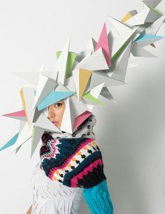 "Makoto Yabuki – ""Mask"" Project. Featured: Mask paper construction + photography Art director / Makoto Yabuki (TANGRAM) Model / Yuri Ishizaka (eva management) Photographer / Hanzawa Takeshi Hair and Make-up / Noboru Tomizawa(CUBE Management Office) Stylist / Tsuyoshi Takahashi CG/TANGRAM + Hideki Inoue Produce / TANGRAM"