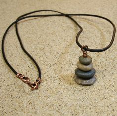 Lake Michigan 20 Inch Pebble Cairn Pendant Necklace with Black Leather Cording, Charlevoix Stone Fossil, Eco Jewelry, Nature Inspired by StoneCairns on Etsy
