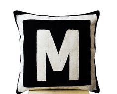 Customized Monogram throw pillow- Felt pillow- Black Cream pillow