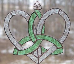 Stained Glass Celtic Suncatcher-Mother's Heart Celtic Knot-Mint Green Lace. $25.00, via Etsy.