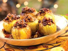 Pecan Baked Apples - You can use any apple but Granny Smith, as they never seem to soften. Make these in the microwave, but you can also bake them in a 375°F (190°C) oven until soft. #Recipes #Dessert