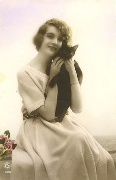 vintage photo woman with black cat