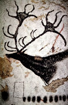 18000 BP - Large Black Stag - Paleolithic - Lascaux Caves, France