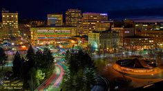 A view into downtown Spokane, shot from the top of the Riverfront Park Clocktower