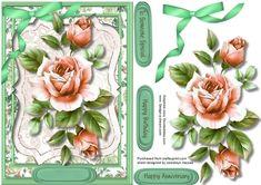 Beautiful Peach roses on a Bracket mat  on Craftsuprint designed by Ceredwyn…