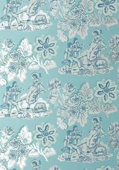 GIRL ON A SEE SAW, Turquoise, AT10077, Collection Wild Flora from Anna French Thiabut wallpaper toile