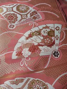 Japanese vintage fabric - fan motif - pink - unstitched vintage obi sash - WhatsForPudding