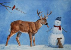'Whose Carrot?' by artist Crista Forest http://fineartamerica.com/profiles/crista-forest.html (snowman, snow folk, winter, deer, Christmas)